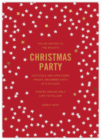 Starry Party - Red - Sugar Paper - Virtual Parties