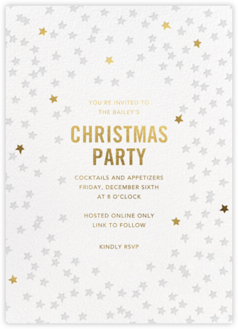 Starry Party - White - Sugar Paper - Holiday invitations