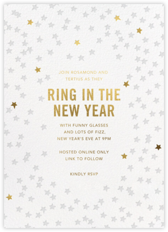 Starry Party - White - Sugar Paper - New Year's Eve Invitations