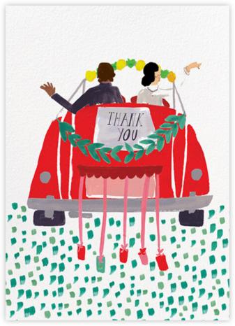 The Newlyweds Car - Tan/Light - Mr. Boddington's Studio - Online Thank You Cards