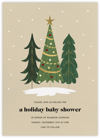 Christmas Tree Trio - Paperless Post - Christmas Baby Shower Invitations