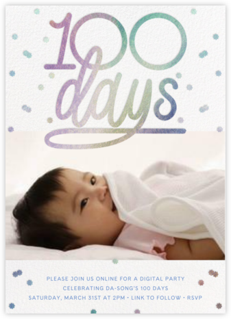 Iridescent 100 Photo - Paperless Post - 100 Day Celebration Invitations
