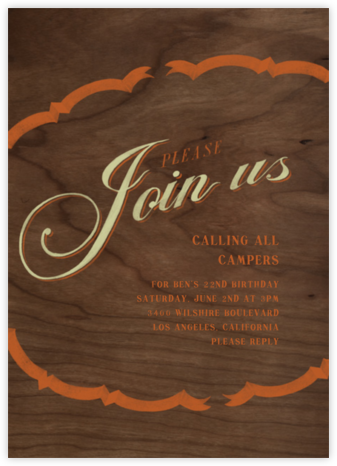 Please Join - Pumpkin Sage - Paperless Post - Adult Birthday Invitations
