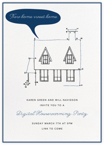 Connect The Dots - Blue - Paperless Post - Housewarming party invitations