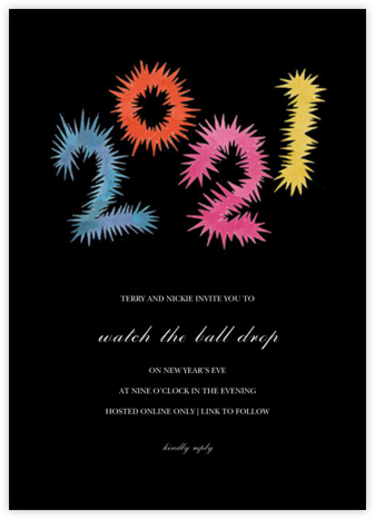 Fireworks Year - Colorful - Happy Menocal - New Year's Eve Invitations