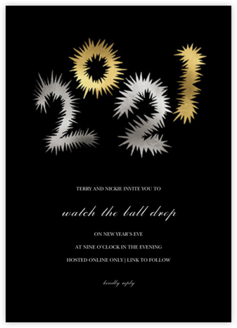 Fireworks Year - Metallic - Happy Menocal - New Year's Eve Invitations