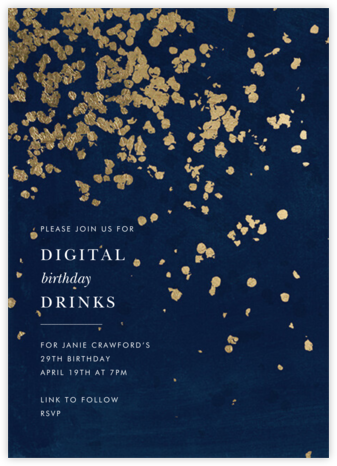 Neve - Navy - Kelly Wearstler - Adult Birthday Invitations
