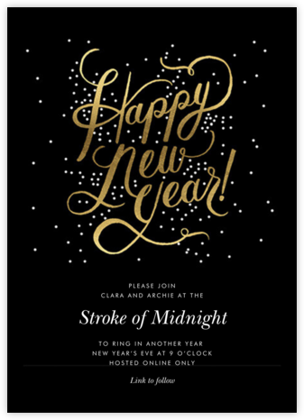 Shimmering New Year - Invitation | tall