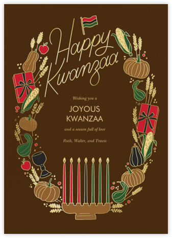 Kwanzaa Wreath (Greeting) - Brown - Paperless Post - Kwanzaa Cards