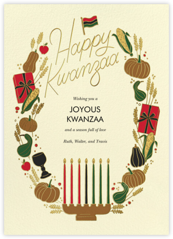 Kwanzaa Wreath (Greeting) - Cream - Paperless Post - Kwanzaa Cards