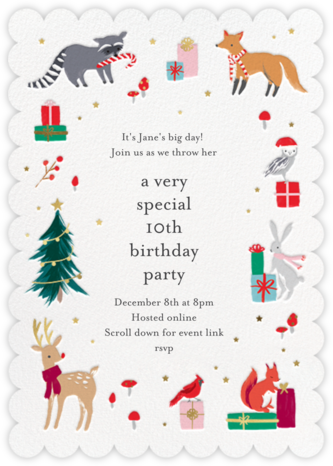 Christmas Critters - Meri Meri - Online Kids' Birthday Invitations