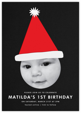 Santa Hat - Single Photo - The Indigo Bunting - Online Kids' Birthday Invitations