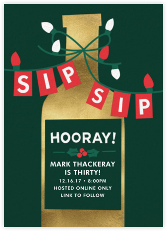 Sip Sip Hooray - Cheree Berry - Adult Birthday Invitations