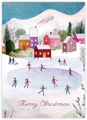 Village Skating (Josie Portillo) - Christmas - Red Cap Cards - Christmas Cards