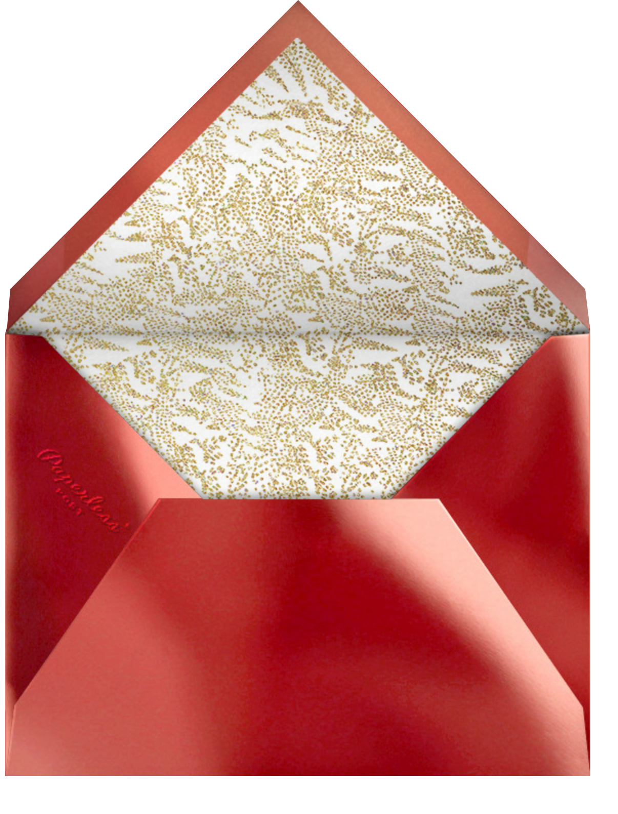Crystal Pines (Invitation) - Gold - Paperless Post - Christmas party - envelope back