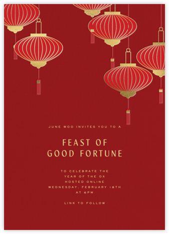 Lantern Tassels - Red - Paperless Post - Lunar New Year Invitations