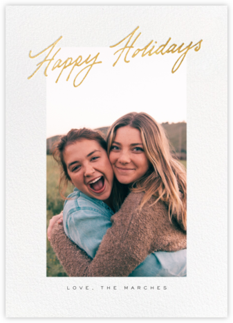 Inscribed Holidays (Tall) - Gold - Paperless Post - Holiday Cards