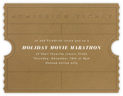 Golden Ticket (Tabac) - Paperless Post - Holiday invitations