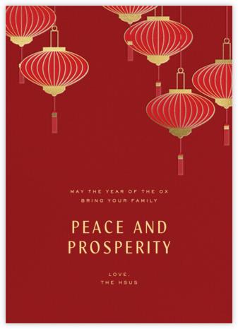 Lantern Tassels - Red - Paperless Post - Lunar New Year Cards
