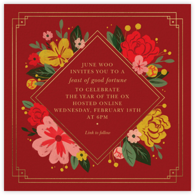 New Year Blooms - Paperless Post - Lunar New Year Invitations