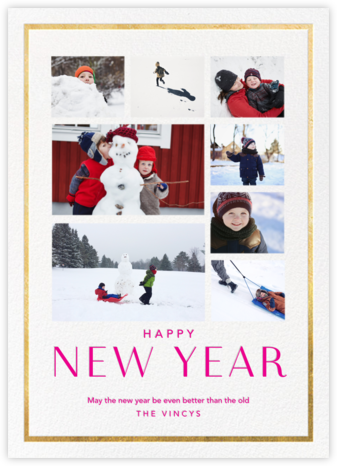 New Year Finestra (Multi-Photo) - White/Gold - Paperless Post - New Year Cards