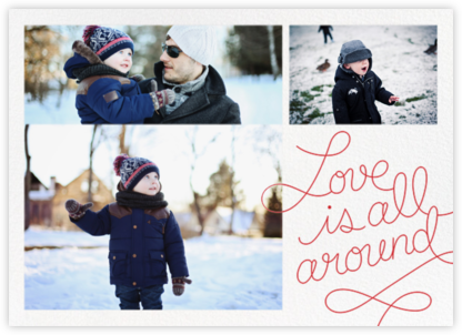 Love Is All Around (3 Photos) - Red - Paperless Post - Holiday Cards