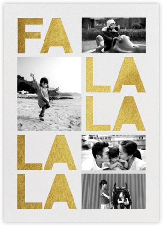 Fa Lalala La  (4 Photos) - Gold - Paperless Post - Affordable Christmas Cards