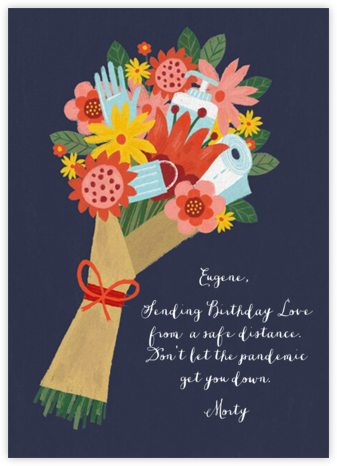 Sanitized Bouquet - Navy - Paperless Post - Birthday Cards