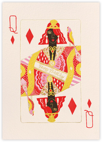 Queen of Diamonds (Danielle Kroll) - Deep - Red Cap Cards - Birthday Cards