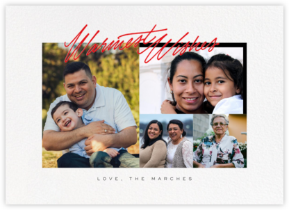 Inscribed Wishes (Horizontal , 4 Photos) - Red - Paperless Post - Holiday Cards