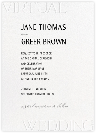 Virtual Vows - White - Paperless Post - Virtual Wedding Invitations