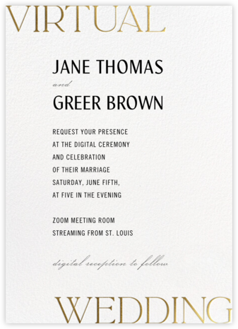 Virtual Vows - Gold - Paperless Post - Wedding Invitations