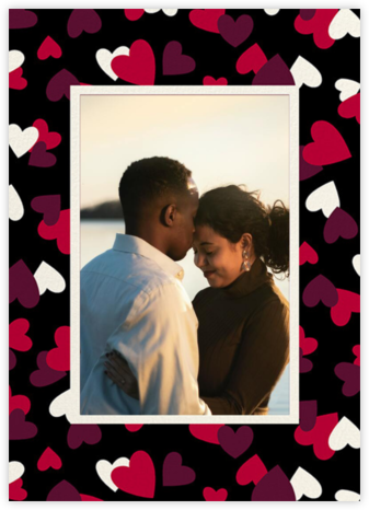Falling Hearts Photo - Black - kate spade new york - Valentine's Day Cards