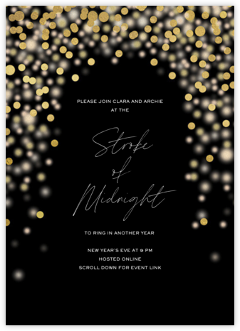 Sparkle Lights (Invitation) - Black - Paperless Post - New Year's Eve Invitations