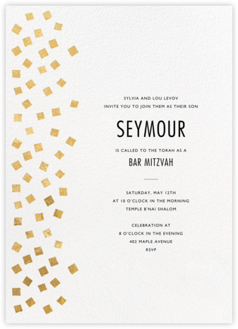 Fette - Gold/White - Kelly Wearstler - Bat and Bar Mitzvah Invitations