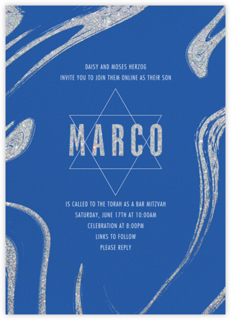 Glitter Marble - Paperless Post - Bat and Bar Mitzvah Invitations