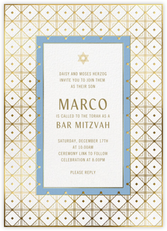 Gold Grid - Paperless Post - Bat and Bar Mitzvah Invitations