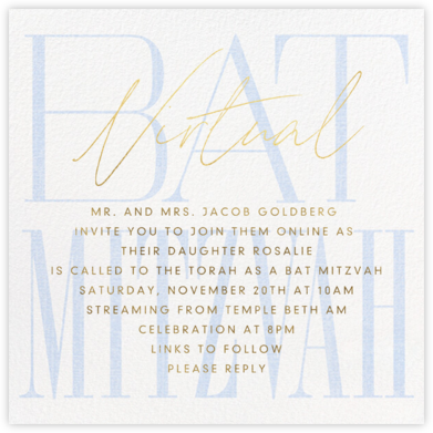 Virtual Mitzvah (Bat) - Blue - Paperless Post - Online Party Invitations