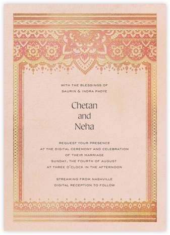 Golden Paisley (Invitation) - Pink - Paperless Post - Virtual Wedding Invitations