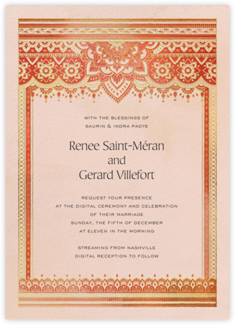 Golden Paisley (Invitation) - Red - Paperless Post - Wedding Invitations