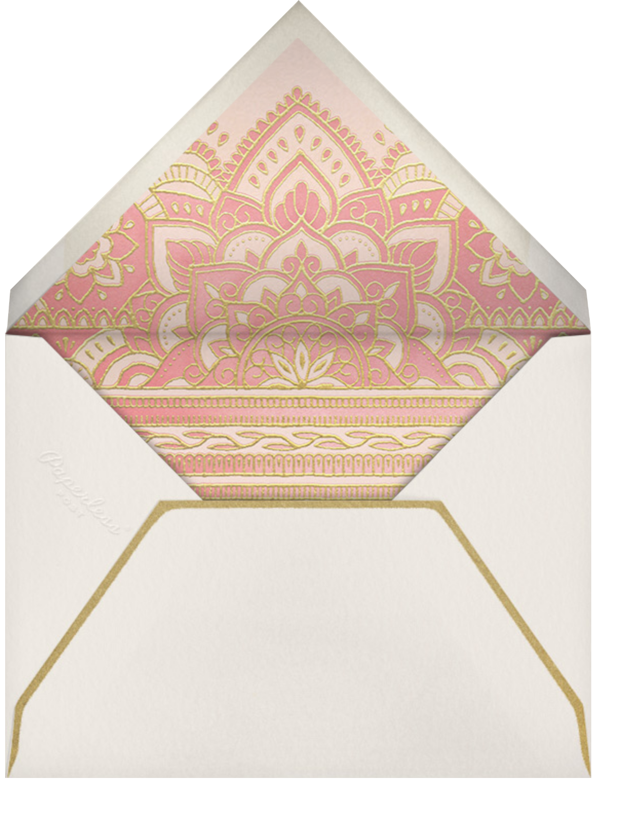 Golden Paisley (Save the Date) - Pink - Paperless Post - Save the date - envelope back