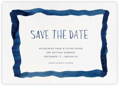 Watercolor Frame - Blue - Linda and Harriett - Save the dates