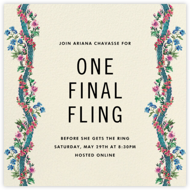 Climbing Blossoms - Cream - Stephanie Fishwick - Bachelorette Party Invitations