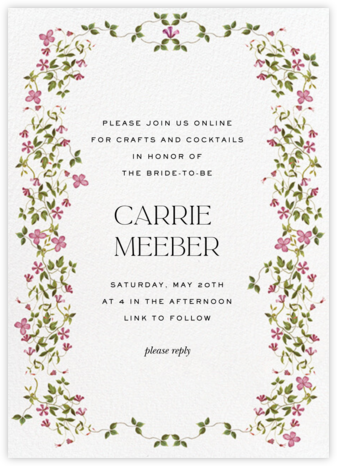 Creeping Magnolia - Pink - Stephanie Fishwick - Bridal shower invitations