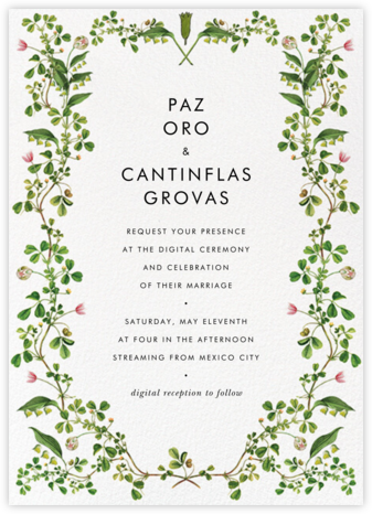 Lily Vines (Invitation) - Stephanie Fishwick - Virtual Wedding Invitations