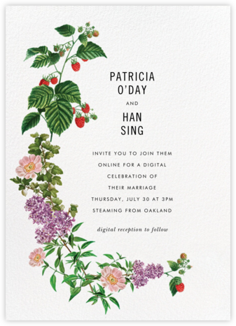 Raspberry Blossom (Invitation) - Stephanie Fishwick - Virtual Wedding Invitations