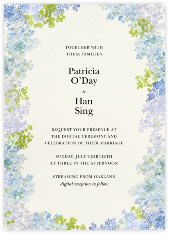 Hydrangea Fields (Invitation) - Felix Doolittle - Virtual Wedding Invitations