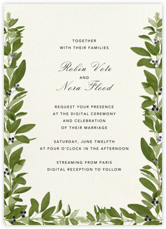 Lush Vines (Invitation) - Felix Doolittle - Virtual Wedding Invitations
