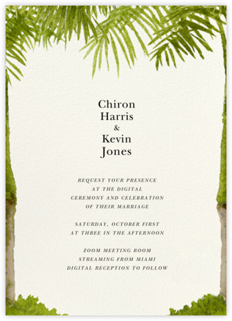 Painted Palm (Invitation) - Felix Doolittle - Virtual Wedding Invitations
