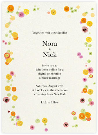 Dizzy Blooms (Invitation) - Felix Doolittle - Virtual Wedding Invitations